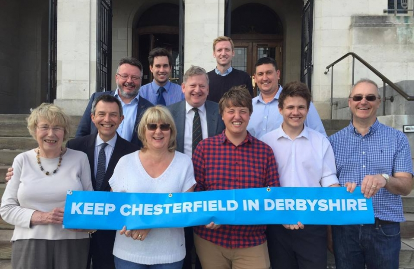 Local Conservative activists with Cllr Barry Lewis, celebrating a successful campaign to keep Chesterfield in Derbyshire.
