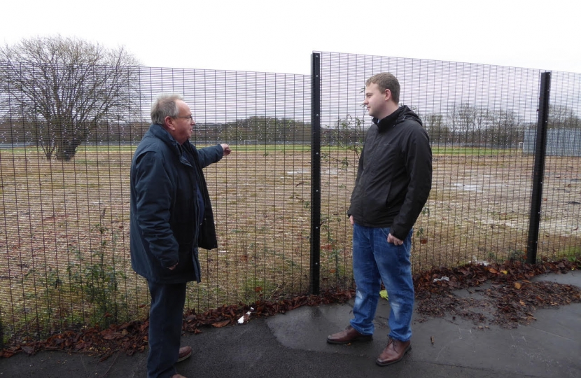 Cllr Tony King and Cllr Robert Flatley discussing proposals for a new care home in the area at Bennerley Fields, one of the sites currently being considered.