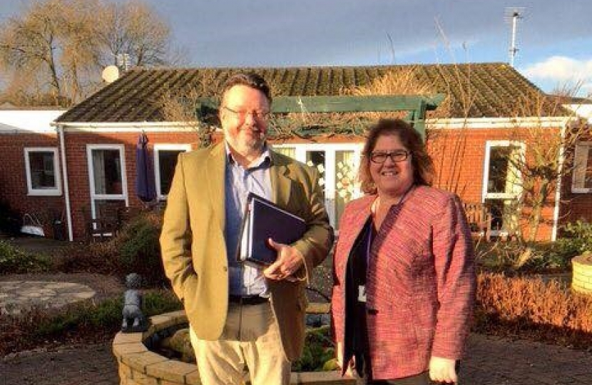 Cllr Barry Lewis and Cllr Jean Wharmby on a recent visit to Hazelwood Care Home